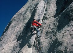 "Rock Climbing Photo: Anne liebacking the flake on ""Double Dip,&quo..."