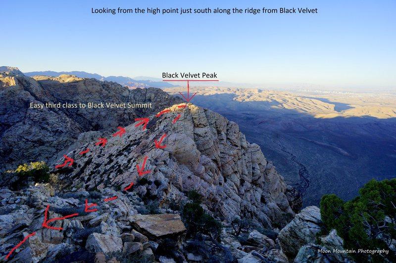 The descent from Black Velvet Peak