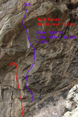 This is a photo of the wall and the climbs Notorious and Life After Death.