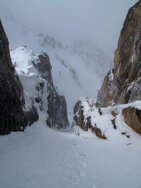 Looking down from the top of the couloir