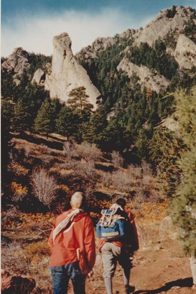 Rodger Raubach and Alan Carlson on the way to climb the North Face Route, Fall, 1959.
