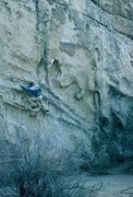 "Rock Climbing Photo: Moving up to the crux ""Big Dynamo"" move ..."