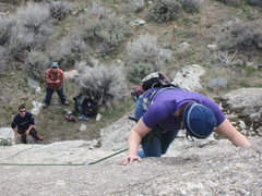 Rock Climbing Photo: Jaqui making moves above the new bolts