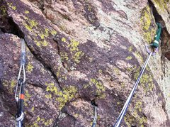 Rock Climbing Photo: Belay perched on top of the boulder/flake at the e...