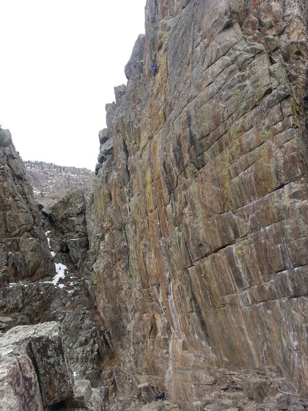 Brian B. standing at the chains of ODK. From this perspective, you can see just how long this route really is, classic!