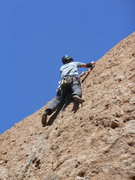 Rock Climbing Photo: Making the transition from steep pockets to the sl...