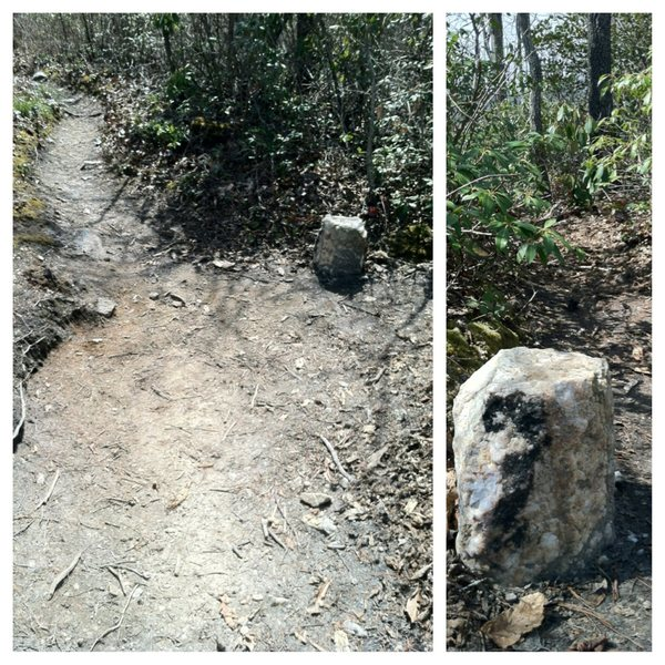 Getting there: Look for this quartzite rock on the main ridge and turn right. It's about a foot tall and marks the spur trail that leads down the hill to the Amphitheater descent gully.
