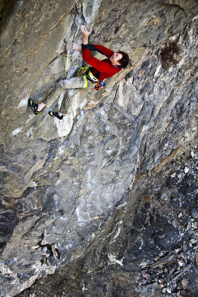Matt Lloyd climbing the crux.