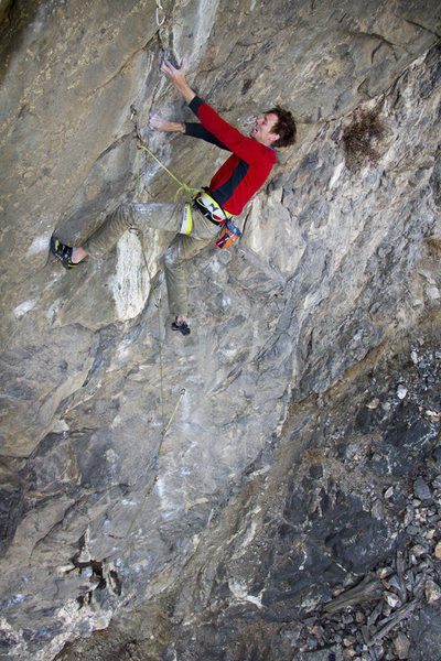 Rock Climbing Photo: Matt on the crux.  Photo: Keith North.