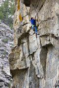 Rock Climbing Photo: Juan climbing the juggy overhanging bottom section...