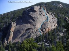 Rock Climbing Photo: Route we took to the top. We missed our first bela...