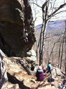 Rock Climbing Photo: Jonny working onto the flake