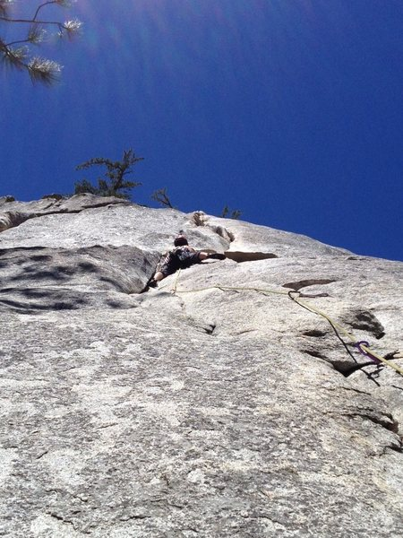 Rock Climbing Photo: Looking up at the crux