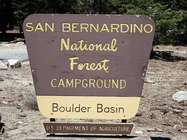 Rock Climbing Photo: Boulder Basin CG sign, Black Mountain