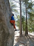 Rock Climbing Photo: Where Boneheads Dare (V5 R), Black Mountain