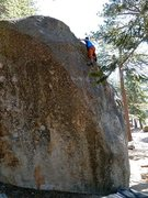 Rock Climbing Photo: Way off the deck on Where Boneheads Dare (V5 R), B...