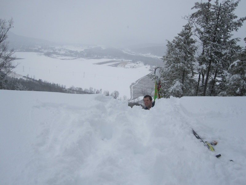 Me coming up to the lip of the quite steep gas-line.  Deep snow!