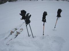 Rock Climbing Photo: Gloves on poles