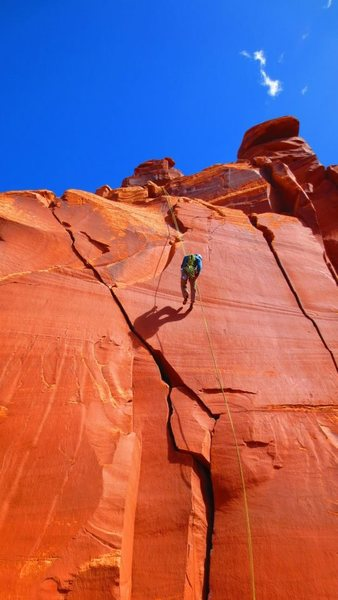 Rock Climbing Photo: Rapping off of South Six Shooter.