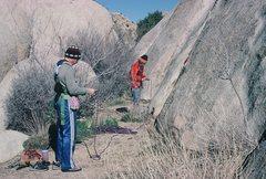 Rock Climbing Photo: Gearing up to climb.