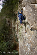 Rock Climbing Photo: Seth leading the way on Getting Lucky in Kentucky.