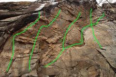 Rock Climbing Photo: 1:Big Papa 5.12d 2:Banannahead 5.13b 3:the big rip...