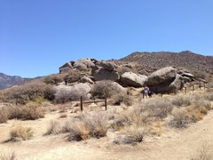 Rock Climbing Photo: View of the boulders from the trail, right as the ...