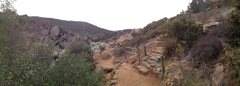 Rock Climbing Photo: Panaram of the trail and waterfall area