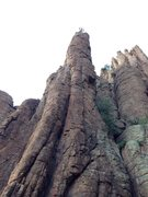 Rock Climbing Photo: DAS at the rap anchor, which is not the top of the...