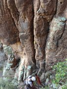 Rock Climbing Photo: Begin in the awkward crack to the left of the lich...