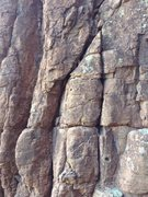 Rock Climbing Photo: Continue up this right leaning crack heading towar...