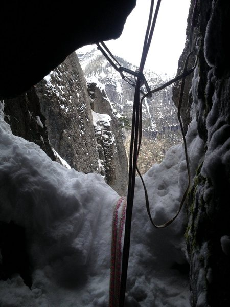 View from interior of belay cave pitch four.<br>