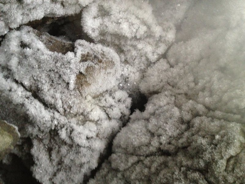 Rock Climbing Photo: Ice crystals roof of belay cave. Pitch four.