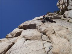 Rock Climbing Photo: Stemming the double seams.