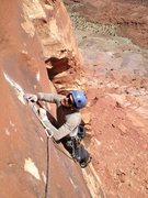 Rock Climbing Photo: Michael Lukens following P1 of LBC 5.11-