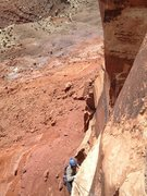 Rock Climbing Photo: Michael Lukens on the airy and exposed P3 of LBC 5...