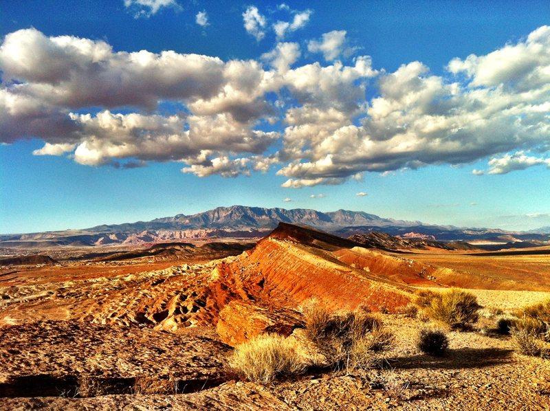 Desert area in washington Warner Valley. Pine Valley Mountain in the background.