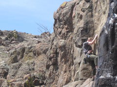 Rock Climbing Photo: Clip before you get washed away!
