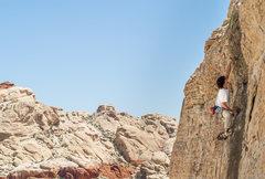 Rock Climbing Photo: Ethan leading Skid Mark