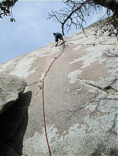 Rock Climbing Photo: Near where the two cracks join