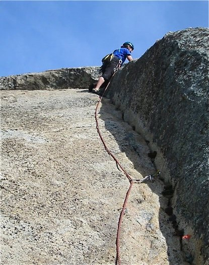 going right and up to the ledge on pitch 3