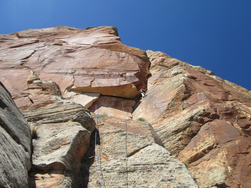 Pitch 1: Getting out of the roof and into the upper crack.