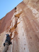 Rock Climbing Photo: Tim up high on the incredible headwall 4th pitch.