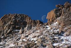 Rock Climbing Photo: Moonset over Keyhole Ridge, January 4, 2013.