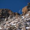 Moonset over Keyhole Ridge, January 4, 2013.