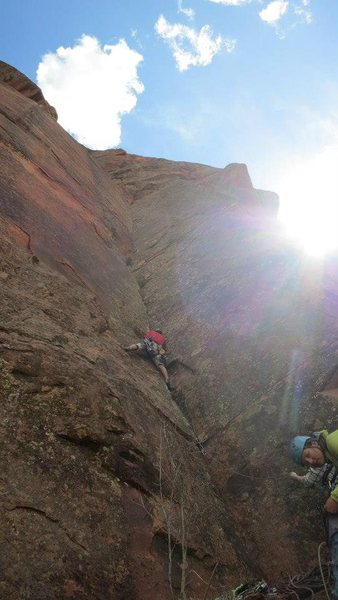 Starting up pitch 1 on the first ascent.<br> <br> Photo by Lindsey Hamm.