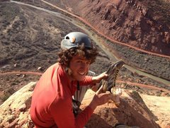 Rock Climbing Photo: Feeling surreal after topping out on the rim.  Pho...