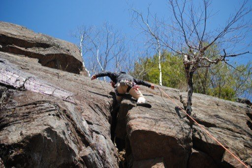 Rock Climbing Photo: Knee jammin