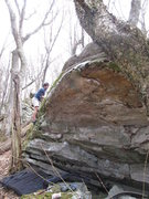"""Rock Climbing Photo: Kent Phillips on the FA top out of """"Zen Garde..."""