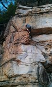 Rock Climbing Photo: Unknown climber, working through the not-so-awkwar...